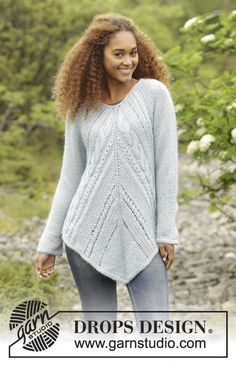 Winter Flair, tunic  with cables, garter st and lace pattern by DROPS Design. Free #knitting pattern