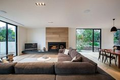 Blairgowrie Residence by InForm Design Pleysier Perkins - fireplace surround Modern Fireplace, Fireplace Wall, Fireplace Design, Black Fireplace, Living Area, Living Room Decor, Living Spaces, Interior Architecture, Interior Design