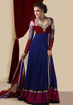 Royal Blue Net Abaya Style Churidar Kameez