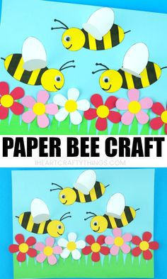 This paper bee craft is a fun way to bring some of the spring season indoors. Kids will love creating a colorful flower scene with busy paper bees buzzing around them to collect pollen. The bee wings popping off the page gives this simple spring craft a fun effect! #insectcraftsforkids #insects #kidscraft #papercraft #papercrafting #iheartcraftythings #springcraftsforkids #summercraftsforkids