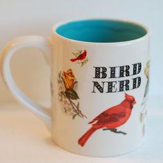 Ceramic Bird Nerd Mug  Birds  Ceramics and by McCheeksMayhem (Home & Living, Kitchen & Dining, Drink & Barware, Drinkware, Mugs, clay, ceramic, mug, McCheeks Mayhem, birds, bird nerd, turquoise, white)