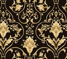 Black and Gold Pattern Background   Black and Gold Damask