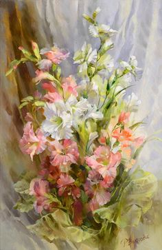 Flowers Grace White Canvas DMC Oil Painting Cross Stitch Kits Art Crafts Embroidery DIY Handmade Needle Work Home Decor Art Floral, Watercolor Flowers, Watercolor Paintings, Floral Bouquets, Beautiful Paintings, Flower Art, Beautiful Flowers, Arts And Crafts, Art Crafts