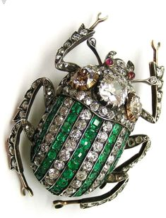 Antique emerald and diamond stag beetle brooch