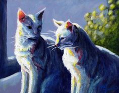 """""""""""Buddies"""""""" by Pat Burns, Forsyth, GA // Buddy is my son's white part-Siamese rescue cat who has a delightfully 'smug' expression. I doubled him up in this painting, so the title has a double meaning.  The original painting is acrylic on 8""""x10"""" gessoed masonite. // Imagekind.com -- Buy stunning, museum-quality fine art prints, framed prints, and canvas prints directly from independent working artists and photographers."""