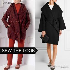 Sew the Look:  Wrap coats with big shawl collars are on trend for fall 2015. Try Vogue Patterns V9140 by Marcy Tilton.
