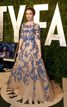 Lily Collins in Monique Lhuillier for the 2012 Vanity Fair Oscars Party