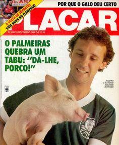 1986, o ano que a torcida do #Palmeiras 'assumiu' o porco! na foto #Jorginho Putinatti