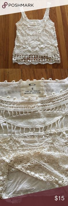 Cream colored crochet tank top from UO. Festival style cream colored Crochet tank top from Urban Outfitter. Soft inner lining, same color. Fits like a size Medium. Pins & Needles Tops Tank Tops