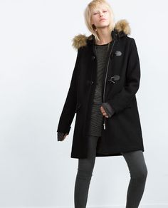 DUFFLE COAT WITH FAUX FUR HOOD from Zara