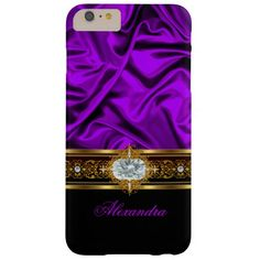 Elegant Purple Silk Look Black White Gold Jewel Barely There iPhone 6 Plus Case