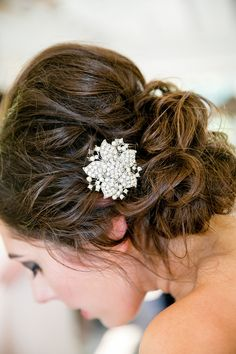 Hairstyle || See the wedding on Style Me Pretty: http://www.StyleMePretty.com/california-weddings/2014/02/17/mankas-boathouse-wedding-with-a-bowtie-bar/ Larissa Cleveland Photography