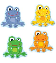 Liven up any classroom with this playful, lighthearted design! FUNky Frogs Cut-Outs can be used for more than decoration! Use them for game pieces, to brighten up cubbies, fun name tags, reward cards and much more! This 36 piece pack includes an assortm Frog Theme Classroom, Classroom Decor, Cubby Tags, Frog Activities, Frog Drawing, Class Decoration, Frog And Toad, Game Pieces, Cool Names