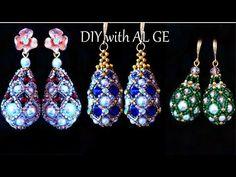 Fabergé Beaded Earrings Tutorial How to make Beaded Earrings Pearl Crystal Beads Earrings Diy - DIY Schmuck Beaded Beads, Beaded Earrings Patterns, Seed Bead Earrings, Diy Earrings, Beading Patterns, Crystal Beads, Beaded Jewelry, Handmade Jewelry, Bracelet Patterns