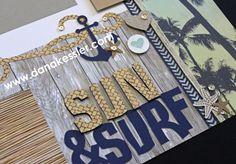 Two Page Scrapbook Layout Beach Summer Pool Lake Surf Vacation Relax No Worries #ctmhnoworries #scrapbooking #pagekits #scraptabulousdesigns #cricutexplore