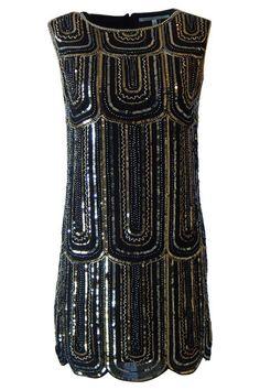 Black Sequin Scalloped Hem Dress