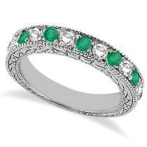 Antique Diamond & Emerald Wedding Ring 14kt White Gold (1.03ct)