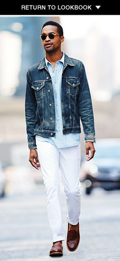 Washed Denim jacket // white pants