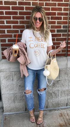 White Printed Tee & Destroyed Jeans & Brown Sandals