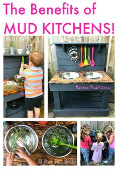 The Benefits of Mud Kitchens is part of Kids Crafts Outdoors Mud Kitchen The fantastic benefits of mud kitchens for early child development through sensory play, role play, imaginative play, maths a - Outdoor Play Spaces, Kids Outdoor Play, Kids Play Area, Outdoor Learning, Backyard For Kids, Backyard Ideas, Backyard Games, Outdoor Games, Outdoor Play Kitchen
