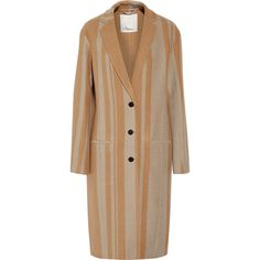 3.1 Phillip Lim Striped wool-blend coat (£421) ❤ liked on Polyvore featuring outerwear, coats, tan, 3.1 phillip lim coat, 3.1 phillip lim, beige coat, stripe coat and tan coat