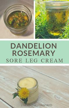 If you've got sore legs this all-natural remedy can provide relief. Made with nourishing ingredients such as shea butter and essential oils, this Dandelion Rosemary Sore Leg Cream is an easy alternative to store-bought pain cream. Natural Health Remedies, Natural Cures, Natural Healing, Herbal Remedies, Holistic Healing, Natural Foods, Cold Remedies, Natural Skin, Natural Beauty