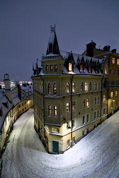 Stockholm, Sweden. Winter at night.