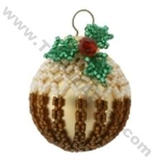 Christmas Pudding Ornament Bead Pattern By ThreadABead Beaded Ornament Covers, Beaded Ornaments, Handmade Ornaments, Beaded Christmas Decorations, Christmas Baubles, Christmas Craft Projects, Beaded Crafts, Christmas Pudding, Beading Projects