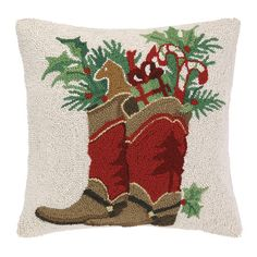 Bring a touch of cheer to your sofa or favorite reading nook with this wool pillow, featuring a holiday-inspired motif.Product: P...