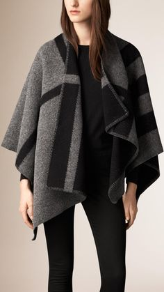 Check Wool and Cashmere Blanket Poncho Dark Grey Check | Burberry