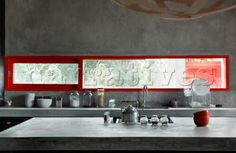 Kitchen worktop and walls - smashing with a dash of red for colour!