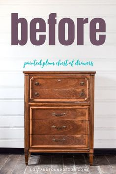 Gorgeous plum color paint and a decor transfer turns this chest of drawers from basic to glam! This post shares the paint and products I used as well as general tips for when you're painting your own furniture. #fusionmineralpaint #plumpaintedfurniture #paintedchestofdrawers Green Painted Furniture, White Washed Furniture, Painting Furniture, Diy Furniture Projects, Furniture Makeover, Refinished Furniture, Furniture Refinishing, Repurposed Furniture, Diy Projects