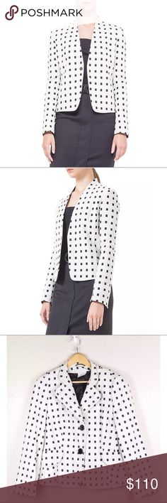 Akris Punto White Square Dotted Jacquard Blazer Akris Punto Women's White Black Square Dotted Jacquard Career Blazer Jacket 14 Bust: 22 Waist: 20 Length: 22.5 Akris Punto Jackets & Coats Blazers