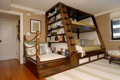 Awesome Space Saving Kids Bedroom Design Featuring Perfect Wooden Bunk Beds With Unique Black Metal Stairs And Bookshelves On The Left Side