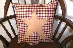 Primitive Pillow Cover Barn Star Prim Country Red by wvluckygirl,