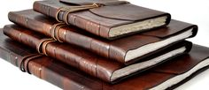 Leather Journals - I love this!!! 1 for contact info, 1 for prose thoughts, 1 for notes and ideas, and 1 for journaling :-D