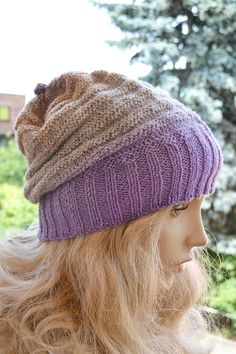 hat beige purplegray Knitted multicolor kauni lace by DosiakStyle, #beanicap