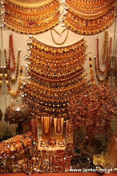Amber jewelry in a shop in Gdansk - Poland