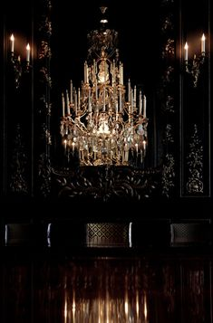 The crystal chandelier of the black dining room at Hôtel du Marc: the exclusive Veuve Clicquot guesthouse in Reims, France - More wonders at www. Gothic House, Victorian Gothic, Chandelier Bougie, Bubble Chandelier, Foyer Chandelier, Baroque, Rococo, Or Noir, Veuve Clicquot