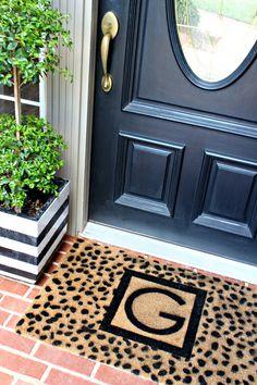 black and white modern decor - diy door mat, custom monogrammed door mat tutorial, cheetah spots stencil, front door makeover by Dimples and Tangles