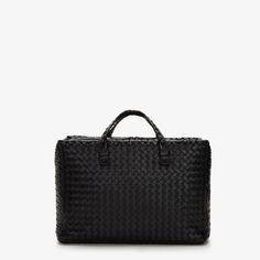 Bottega Veneta Woven Leather Intrecciato Nappa Brick Bag In Black featured in vente-privee.com