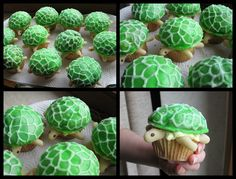 If you want to add extra charm into your Christmas party, then try these tasty creative cupcakes ideas to impress your friends. Turtle Birthday Parties, Birthday Posts, Turtle Party, Birthday Fun, Friend Birthday, Birthday Stuff, Birthday Cakes, Birthday Ideas, Funny Cupcakes