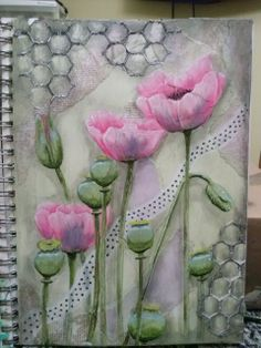 mixed media journal.  Do not know where this originated but is such a pretty idea.
