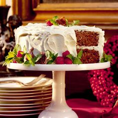 "Fig Cake: ""A delicious twist on Hummingbird Cake, this recipe is simple to make. Super-moist cake layers, flavored with fig preserves and a sprinkling of spice, are paired with cream cheese frosting for an irresistible treat."""