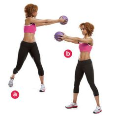 Mason Twists: Stand and hold a medicine ball or dumbbell with arms extended straight out in front of you and a natural bend in your elbows. Rotate from side to side and use your core (your abs and hips) to control your movement.     Click for 7 more core- and hip-strengthening exercises: http://ow.ly/omnDF