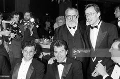 , US actors Joe Pesci, Robert de Niro, Italian film director Sergio Leone and actors James Wood and Danny Aiello pose after the screening of the film 'Once upon a time in America' (Il était une fois en Amérique), on May 20, 1984 during the Cannes International Film Festival. AFP PHOTO RALPH GATTI
