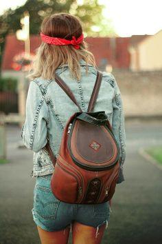 festival backpack & double denim.