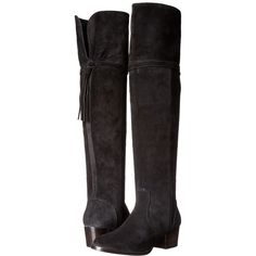 Frye Clara Tassel Over-The-Knee (Black Oiled Suede) Women's Boots (£310) ❤ liked on Polyvore featuring shoes, boots, over-the-knee boots, frye boots, black suede boots, over the knee thigh high boots, suede boots and black boots