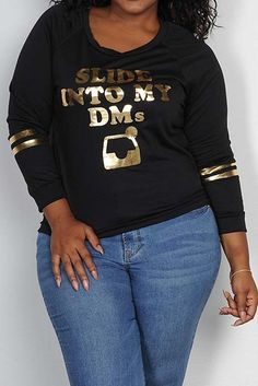 PLUS SIZE SLIDE INTO MY DMS FOIL GRAPHIC PRINTED TOP