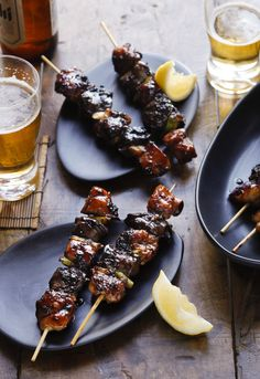 Yakitori chicken skewers - use green part of spring onions (or I left them out and used capsicum instead). I also left out the chicken livers as I'm not a fan. Chicken Skewers, Chicken Livers, Teriyaki Skewers, Sandwiches, Wraps, Asian Recipes, Weekly Recipes, Diet Recipes, Chicken Recipes
